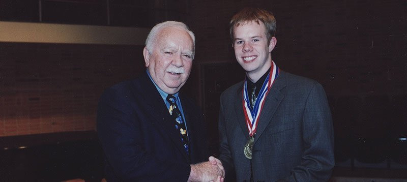 Founder William E. Schmidt with Schmidt Vocal Competition Winner